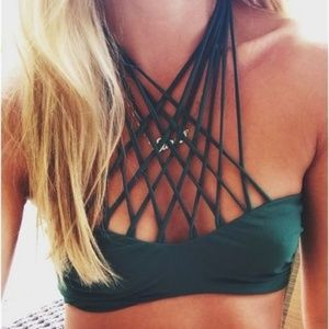 MIKOH Kahala Strappy Green Halter Bikini Top